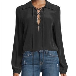 Frame Lace-up blouse silk